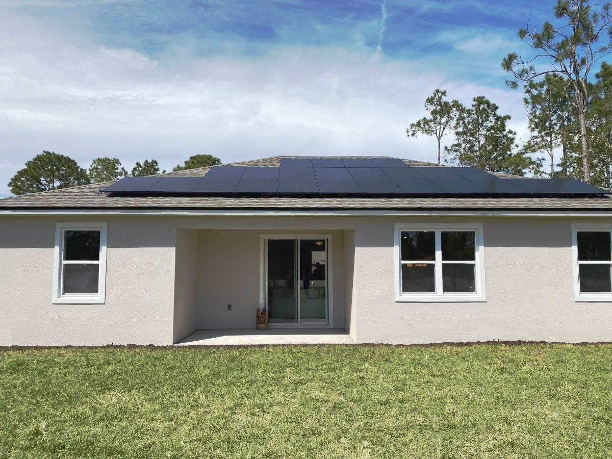 Outside photo of a Brite home with solar.